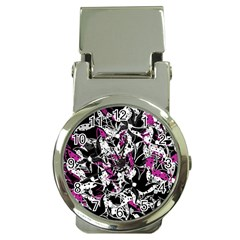 Purple Abstract Flowers Money Clip Watches by Valentinaart