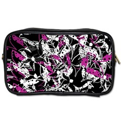 Purple Abstract Flowers Toiletries Bags 2 Side