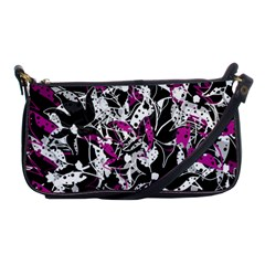 Purple Abstract Flowers Shoulder Clutch Bags by Valentinaart