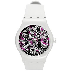 Purple Abstract Flowers Round Plastic Sport Watch (m) by Valentinaart