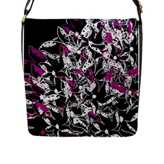 Purple Abstract Flowers Flap Messenger Bag (l)  by Valentinaart