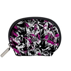 Purple Abstract Flowers Accessory Pouches (small)