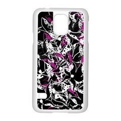 Purple Abstract Flowers Samsung Galaxy S5 Case (white) by Valentinaart
