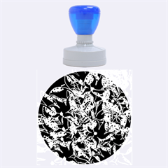 Blue Abstract Flowers Rubber Round Stamps (large) by Valentinaart