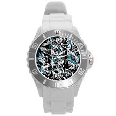 Blue Abstract Flowers Round Plastic Sport Watch (l)