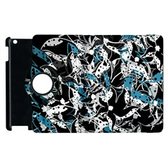 Blue Abstract Flowers Apple Ipad 3/4 Flip 360 Case by Valentinaart