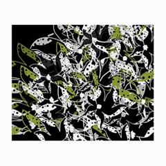 Green Floral Abstraction Small Glasses Cloth by Valentinaart