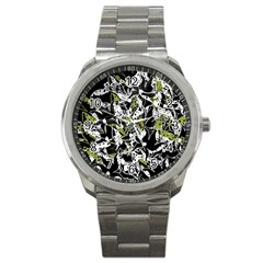 Green Floral Abstraction Sport Metal Watch by Valentinaart
