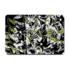 Green Floral Abstraction Small Doormat  by Valentinaart