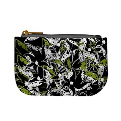 Green Floral Abstraction Mini Coin Purses by Valentinaart