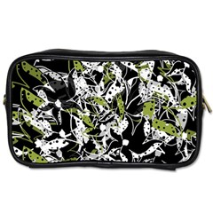 Green Floral Abstraction Toiletries Bags 2 Side by Valentinaart
