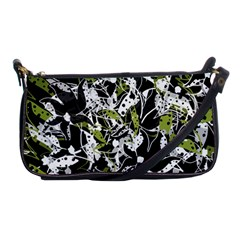 Green Floral Abstraction Shoulder Clutch Bags by Valentinaart