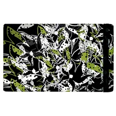 Green Floral Abstraction Apple Ipad 2 Flip Case by Valentinaart