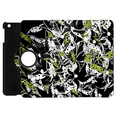 Green Floral Abstraction Apple Ipad Mini Flip 360 Case by Valentinaart