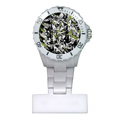 Green Floral Abstraction Plastic Nurses Watch by Valentinaart
