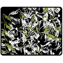 Green Floral Abstraction Double Sided Fleece Blanket (medium)  by Valentinaart
