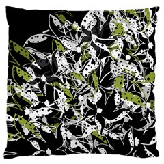 Green Floral Abstraction Large Flano Cushion Case (one Side) by Valentinaart