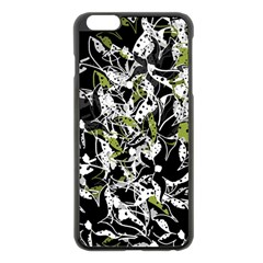 Green Floral Abstraction Apple Iphone 6 Plus/6s Plus Black Enamel Case by Valentinaart