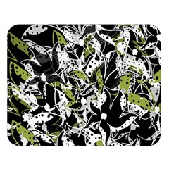 Green Floral Abstraction Double Sided Flano Blanket (large)  by Valentinaart