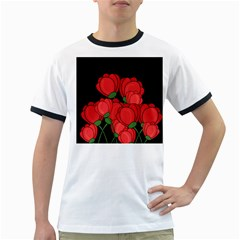 Red Tulips Ringer T-shirts by Valentinaart
