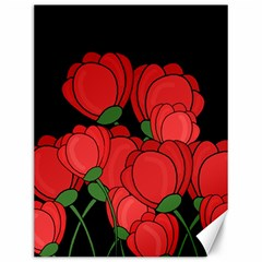 Red Tulips Canvas 12  X 16   by Valentinaart