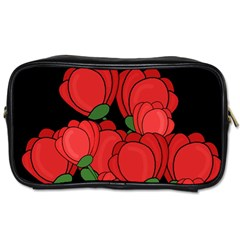 Red Tulips Toiletries Bags 2 Side by Valentinaart