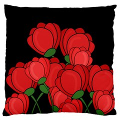 Red Tulips Large Cushion Case (two Sides) by Valentinaart