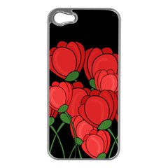 Red Tulips Apple Iphone 5 Case (silver) by Valentinaart