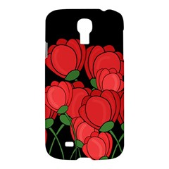 Red Tulips Samsung Galaxy S4 I9500/i9505 Hardshell Case by Valentinaart