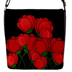 Red Tulips Flap Messenger Bag (s) by Valentinaart