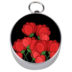 Red Tulips Silver Compasses by Valentinaart