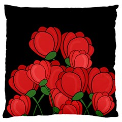 Red Tulips Large Flano Cushion Case (one Side) by Valentinaart