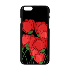 Red Tulips Apple Iphone 6/6s Black Enamel Case by Valentinaart