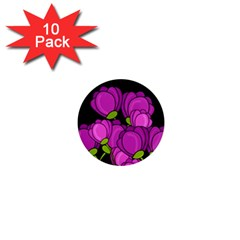 Purple Tulips 1  Mini Magnet (10 Pack)  by Valentinaart