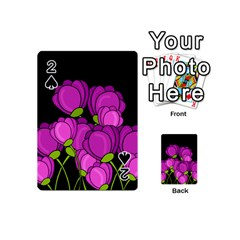Purple Tulips Playing Cards 54 (mini)  by Valentinaart