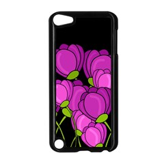 Purple Tulips Apple Ipod Touch 5 Case (black) by Valentinaart