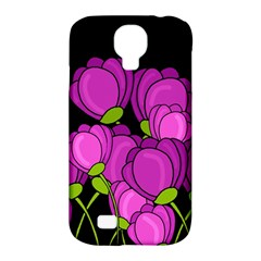 Purple Tulips Samsung Galaxy S4 Classic Hardshell Case (pc+silicone) by Valentinaart