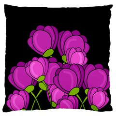 Purple Tulips Large Flano Cushion Case (two Sides) by Valentinaart
