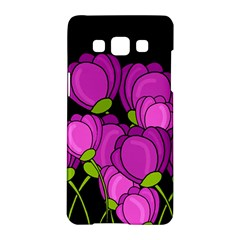 Purple Tulips Samsung Galaxy A5 Hardshell Case  by Valentinaart