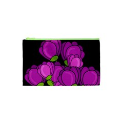 Purple Tulips Cosmetic Bag (xs) by Valentinaart