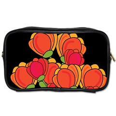 Orange Tulips Toiletries Bags 2 Side by Valentinaart