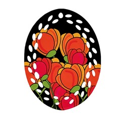 Orange Tulips Ornament (oval Filigree)
