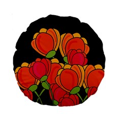 Orange Tulips Standard 15  Premium Round Cushions by Valentinaart
