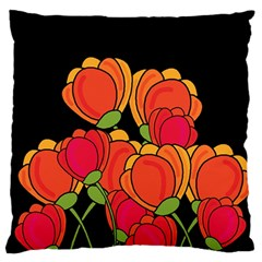 Orange Tulips Standard Flano Cushion Case (two Sides) by Valentinaart