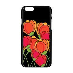 Orange Tulips Apple Iphone 6/6s Black Enamel Case by Valentinaart