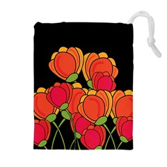 Orange Tulips Drawstring Pouches (extra Large) by Valentinaart