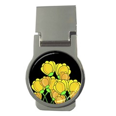 Yellow Tulips Money Clips (round)  by Valentinaart