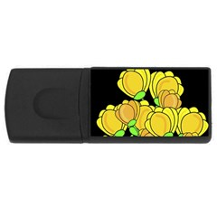 Yellow Tulips Usb Flash Drive Rectangular (4 Gb)  by Valentinaart