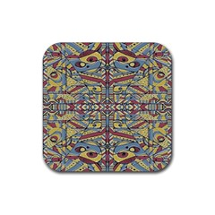 Multicolor Abstract Rubber Coaster (square)  by dflcprintsclothing
