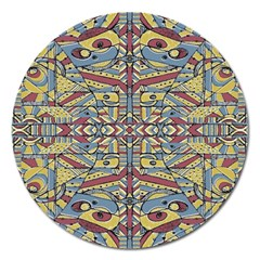 Multicolor Abstract Magnet 5  (round) by dflcprintsclothing